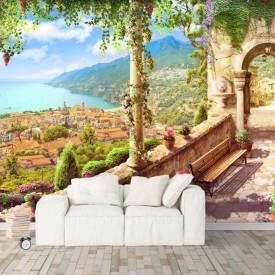 Fototapet, Priveliște de la balcon asupra lacului