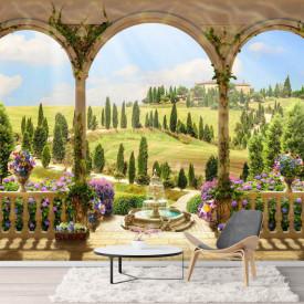 Fototapet, Priveliștea câmpului de la balcon