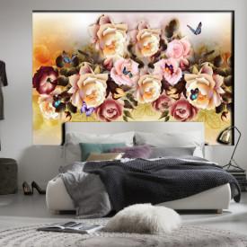 Fototapet, Trandafiri cu fluturi pe un fundal blând