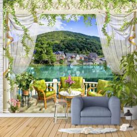 Fototapet, Un balcon cu Priveliște la lac