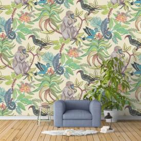 Fototapet, Zidul tropical cu maimuțe