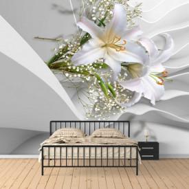 Fototapete 3D, Crini albi pe un fundalul de mătase albă