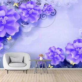Fototapete 3D, Flori purpurii pe un fundal albastru