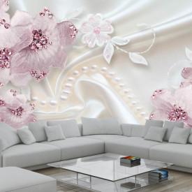 Fototapete 3D, Flori roz pe un fundal alb.