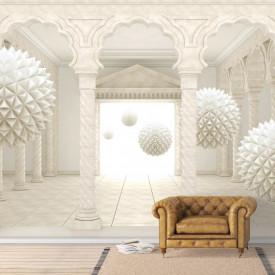 Fototapete 3D, Mingi bej ce plutesc în aer într-o încăpere cu pereți bej