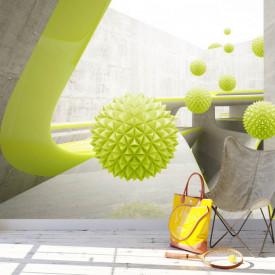 Fototapete 3D,Mingi verzi ce sfidează gravitația pe fundalul unui tunel