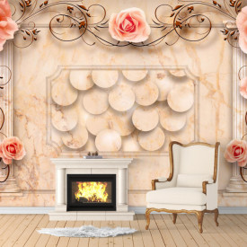 Fototapete 3D, Trandafiri roz cu ornamente pe fundal bej