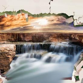 Fototapete 3D, Zid spart cu vedere la o cascadă la apusul soarelui