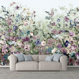 Fototapete, Câmpie cu flori multicolore