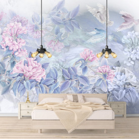 Fototapete, Flori roz cu frunze albastre