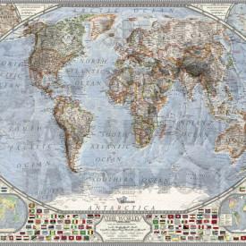 Fototapete, Harta cu drapeluri în culori deschise