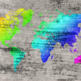 Fototapete, Harta lumii multicolore pe fond gri
