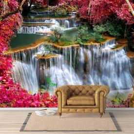 Fototapete, Vedere frumoasă a parcului roșu cu o cascadă
