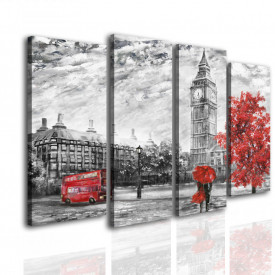 Multicanvas, Londra gri cu accente roșii