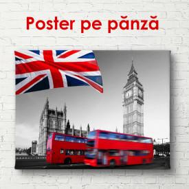 Poster, Autobuz roșu pe fundalul alb-negru al Londrei