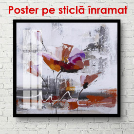 Poster, Floare roșie abstractă pe fundal gri