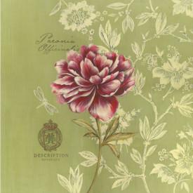 Poster, Floare roz pe un fundal verde