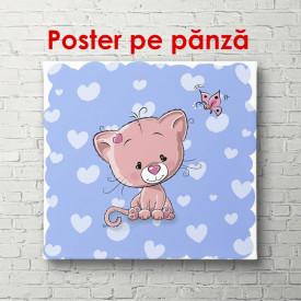 Poster, Pisica roz pe un fundal albastru