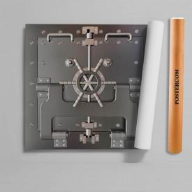Stickere 3D pentru uși, Seiful gri, 1 foaie de 80 x 200 cm