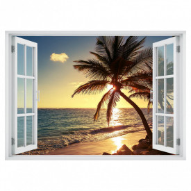 Stickere pentru pereți, Fereastra cu vedere spre plajă la apus de soare