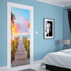 Stickerele decorative, pentru uși, Plaja liniștită, 1 foaie de 80 x 200 cm