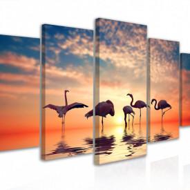 Tablou modular, Flamingo la apus de soare