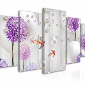 Tablou modular, Flori violete pe fundal alb