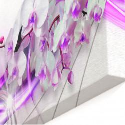 Tablou modular, Orhidee pe un fundal de argint.