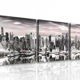 Tablou modular, Panorama alb-negru a New York-ului