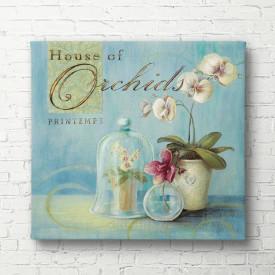 Tablouri Canvas, Vaza cu flori albe pe un fond albastru
