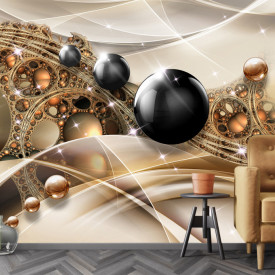 Fototapet 3D, Baloane negre lucioase