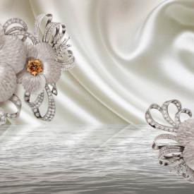 Fototapet 3D, Fantezie cu flori albe și pietre prețioase pe un fundal cu aspect de mătase