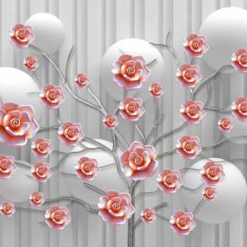 Fototapet, Crenguță cu flori roșii pe un fundal gri cu baloane
