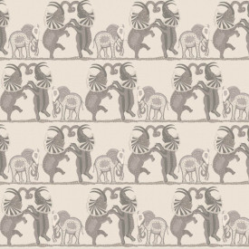 Fototapet, Elefanți dansatori gri pe un fundal bej