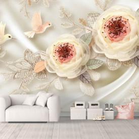 Fototapet Fantezie, Floare în culoare de bej pe o pânză de mătase