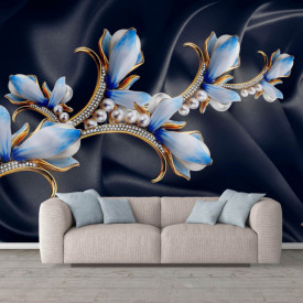 Fototapet Fantezie, Flori albastre pe un fond negru