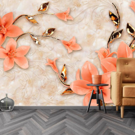 Fototapet Fantezie, Flori portocalii pe un fond de perete bej