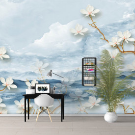 Fototapet, Flori albe pe fundal de cer