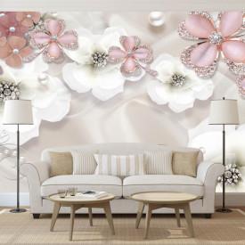 Fototapet, Flori albe și roz pe un fundal delicat