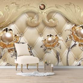 Fototapet, Flori de aur pe un fundal de aur cu modele