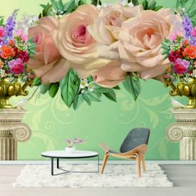 Fototapet, Flori minunate și coloane pe un fundal verde