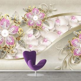 Fototapet, Flori roz deschis pe un fundal bej
