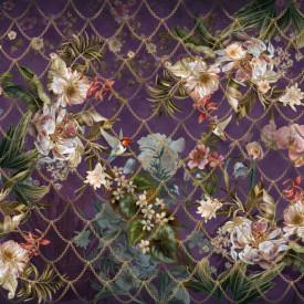 Fototapet, Flori strălucitoare roz pe un fundal violet