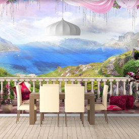 Fototapet Fresco, Fototapete cu o vedere la peisajul montan de pe balcon