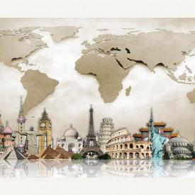Fototapet, Globuri geografice multicolore