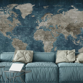 Fototapet, Harta lumii gri-albastră