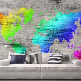 Fototapet, Harta lumii multicolore pe fundal gri