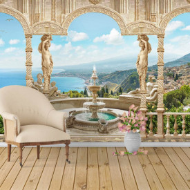 Fototapet, Priveliște frumoasă de la balcon spre lac