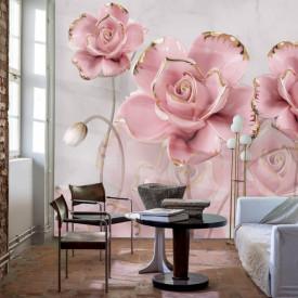 Fototapet, Trandafiri delicate roz pe un fundal delicat