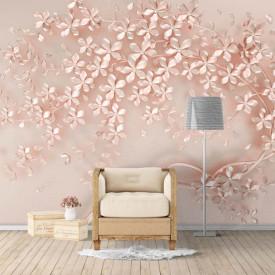 Fototapet, Un arbore roz pe un fundal roz